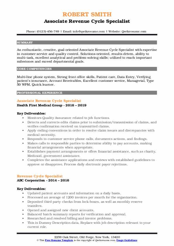 Revenue Cycle Specialist Resume Samples Qwikresume