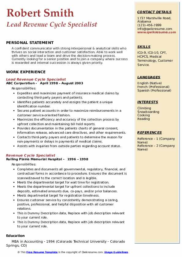 Lead Revenue Cycle Specialist Resume Format