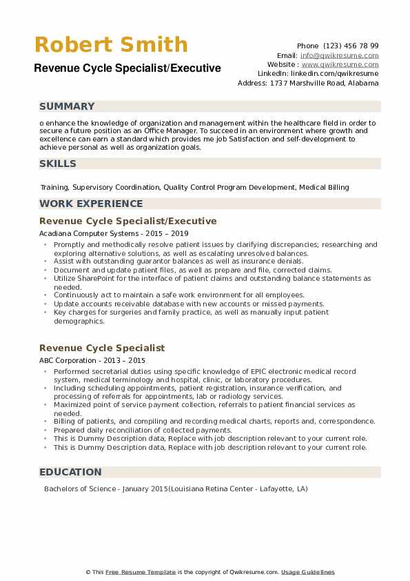 Revenue Cycle Specialist/Executive Resume Model