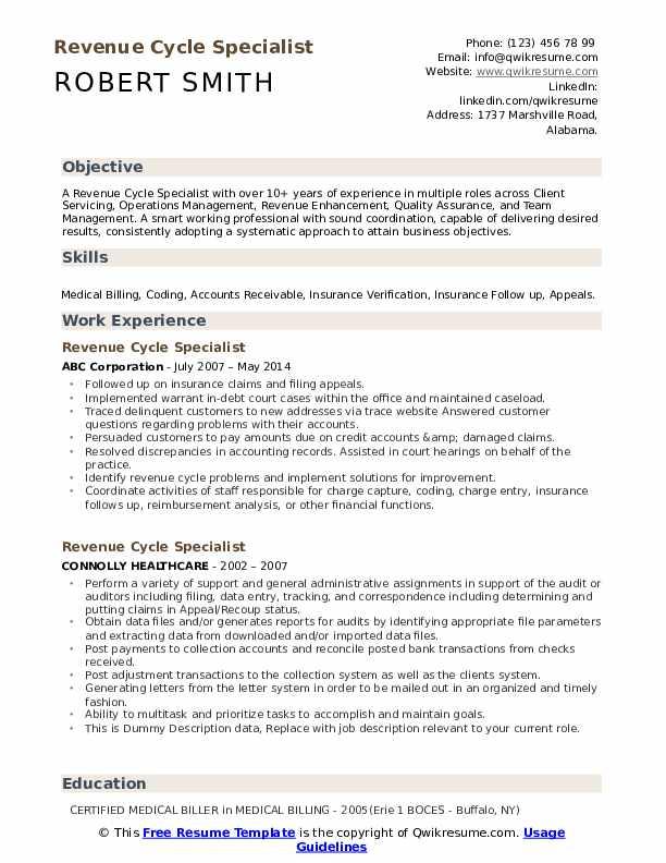 Revenue Cycle Specialist Resume example