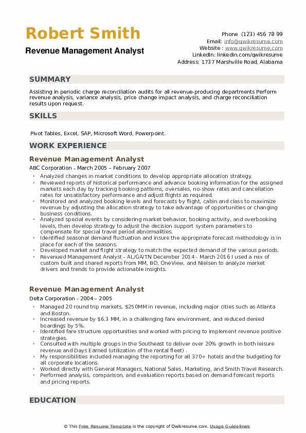 Revenue Management Analyst Resume example