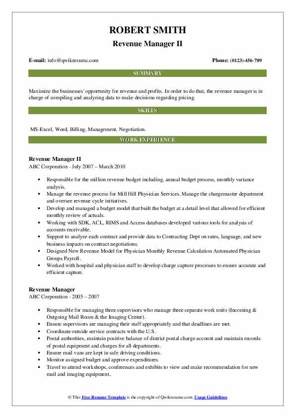 Revenue Manager Resume Samples Qwikresume