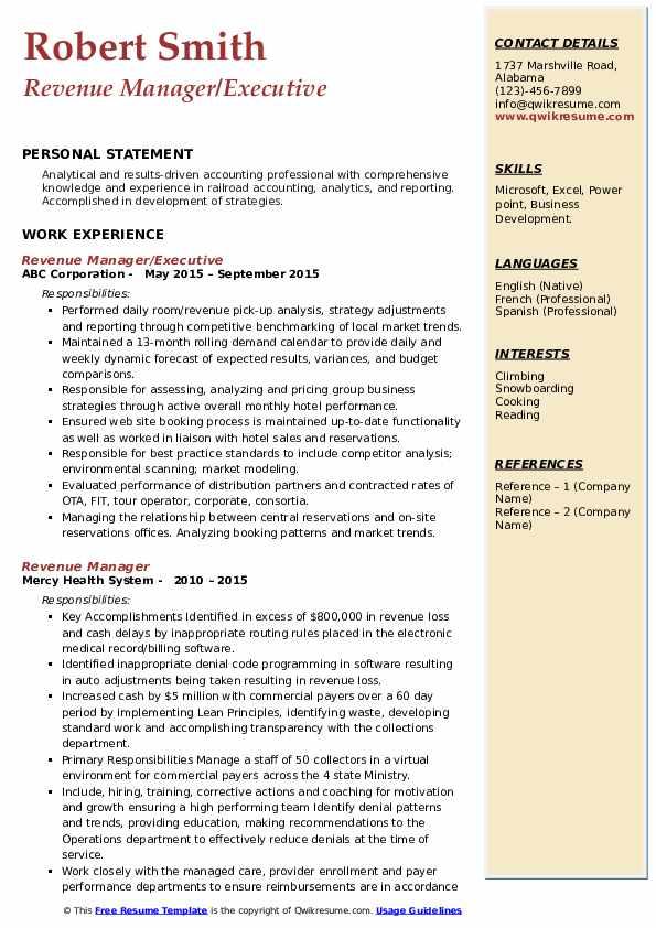 revenue manager resume samples