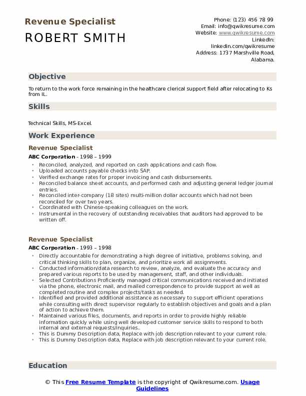 Revenue Specialist Resume example