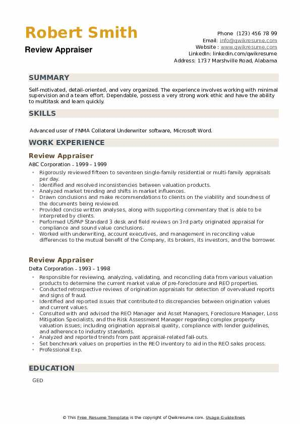 Review Appraiser Resume example