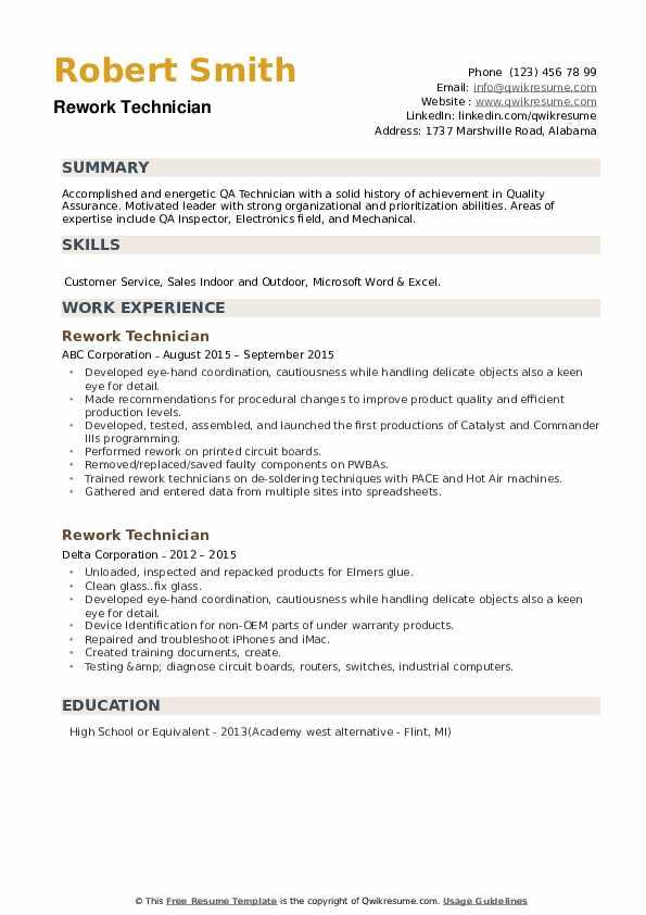 Rework Technician Resume example
