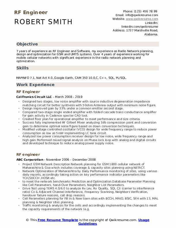 Rf Engineer Resume Samples Qwikresume
