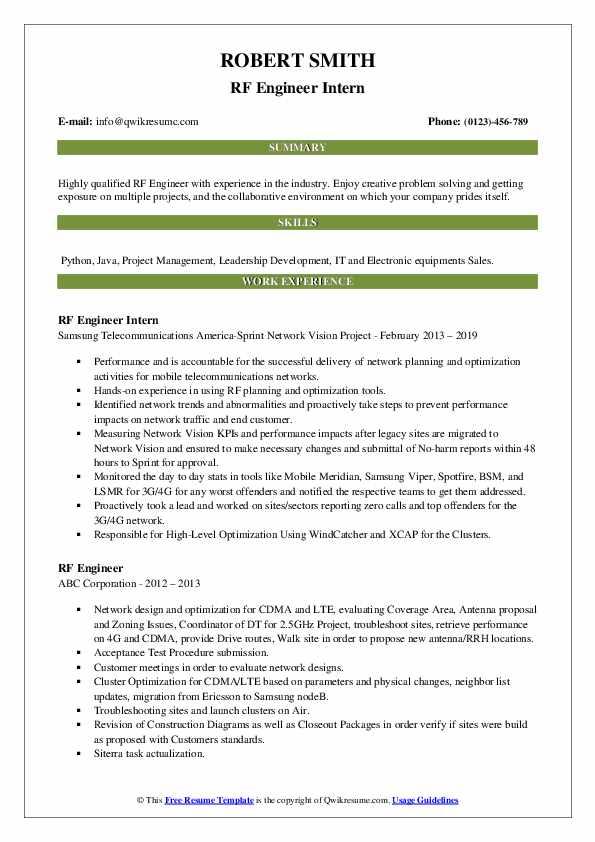 RF Engineer Intern Resume Template