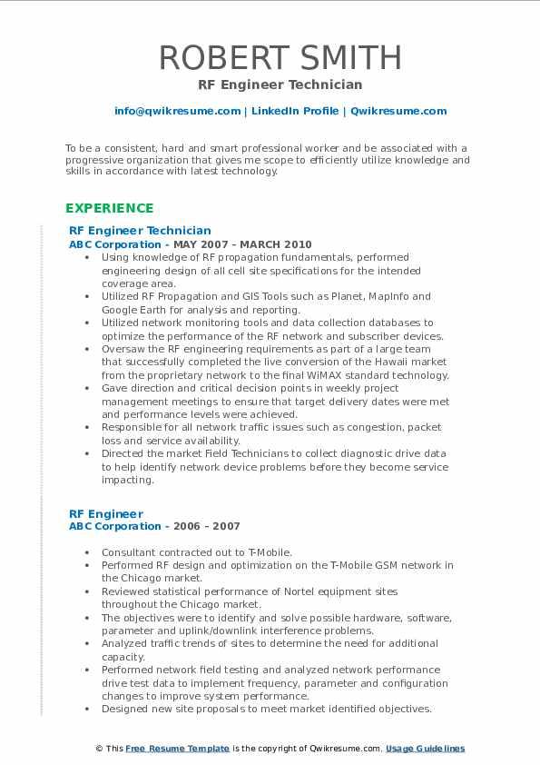 RF Engineer Technician Resume Format