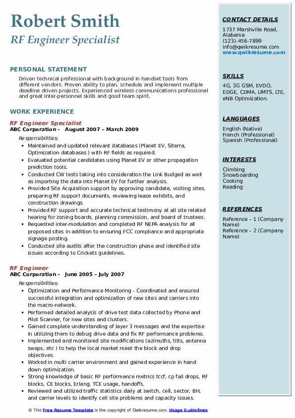 RF Engineer Specialist Resume Model