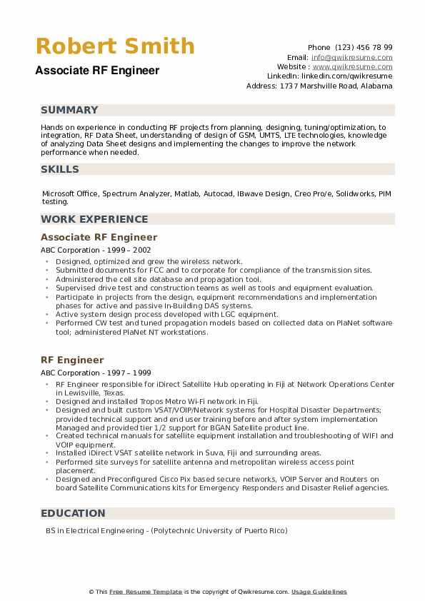 Associate RF Engineer Resume Sample