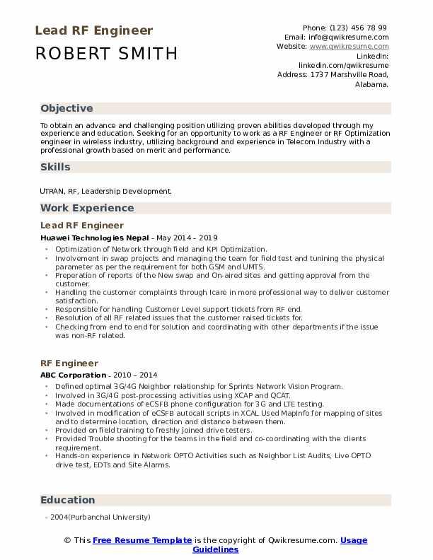 Lead RF Engineer Resume Template