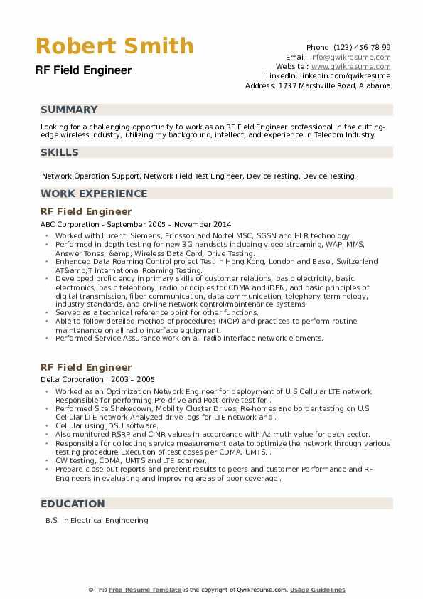 RF Field Engineer Resume example