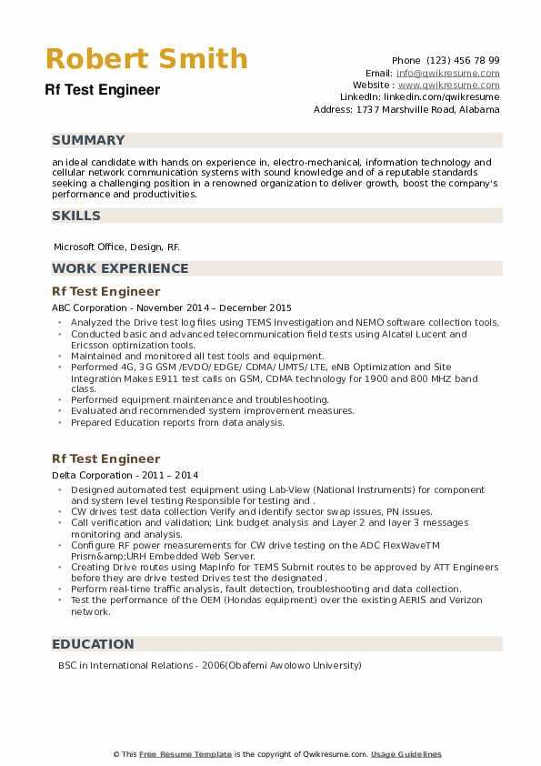 Rf Test Engineer Resume example