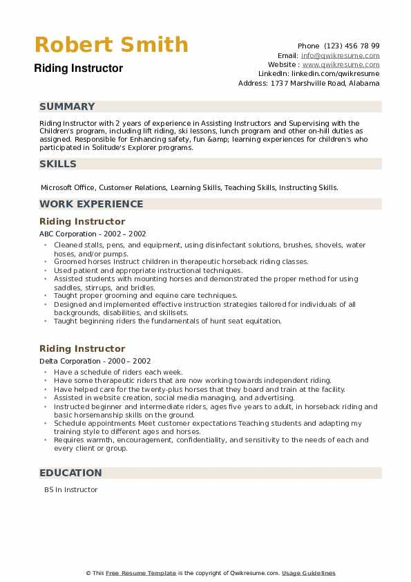 Riding Instructor Resume example