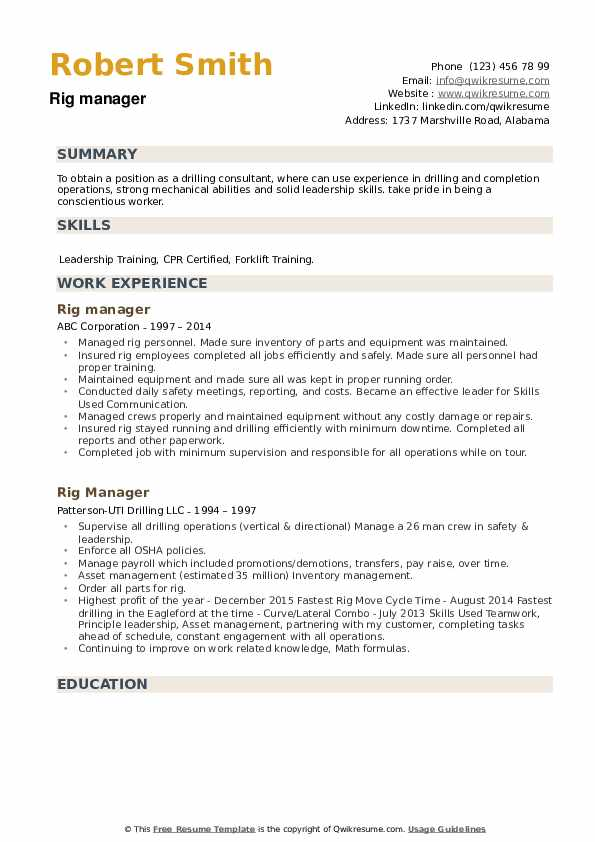 Rig Manager Resume example