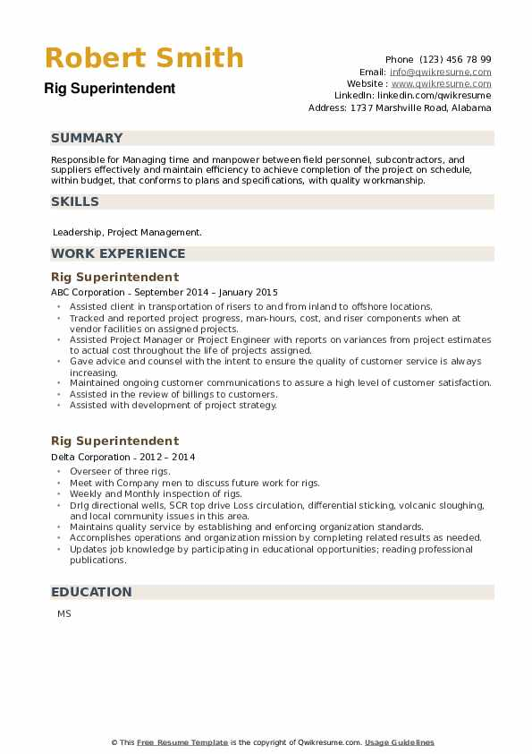 Rig Superintendent Resume example