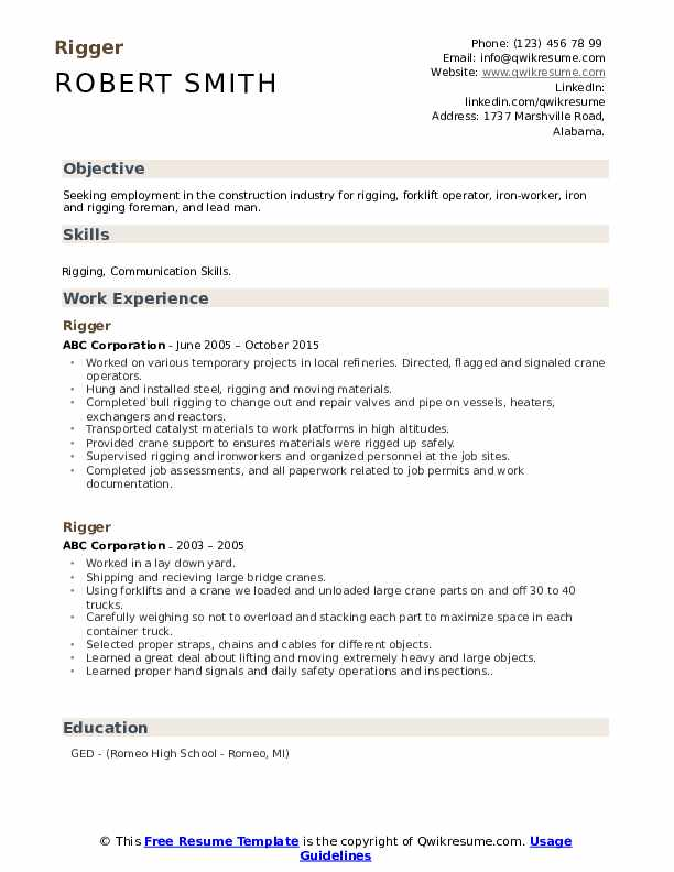 Rigger Resume Samples Qwikresume