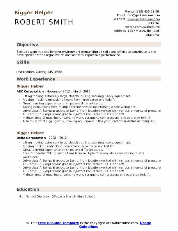 Rigger Helper Resume example
