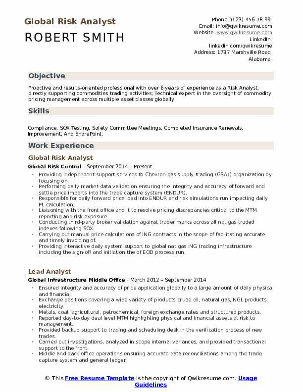 Global Risk Analyst Resume Sample