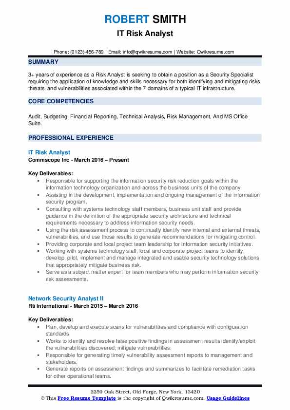 IT Risk Analyst Resume Model
