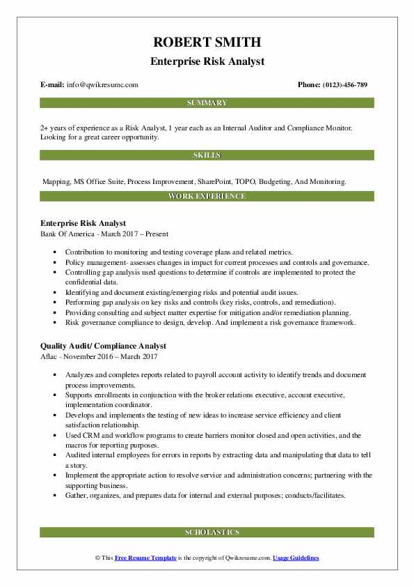 Enterprise Risk Analyst Resume Model