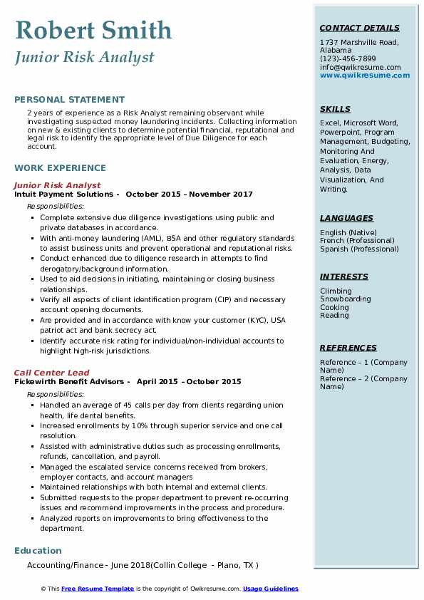 Junior Risk Analyst Resume Format