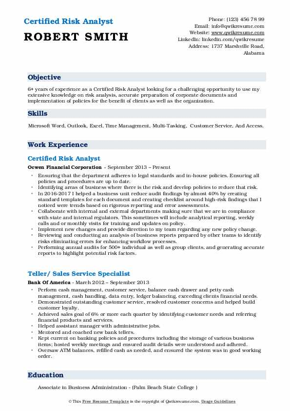 Certified Risk Analyst Resume Format