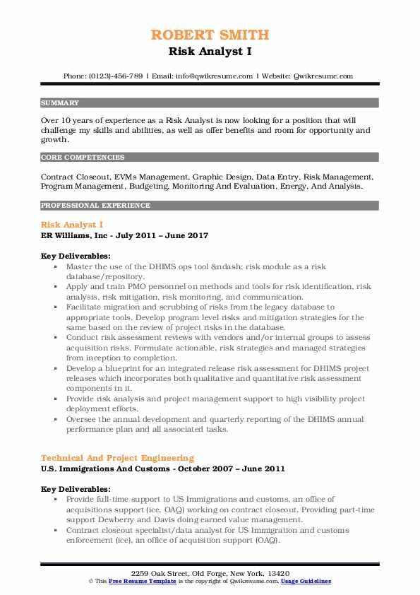 Risk Analyst I Resume Format