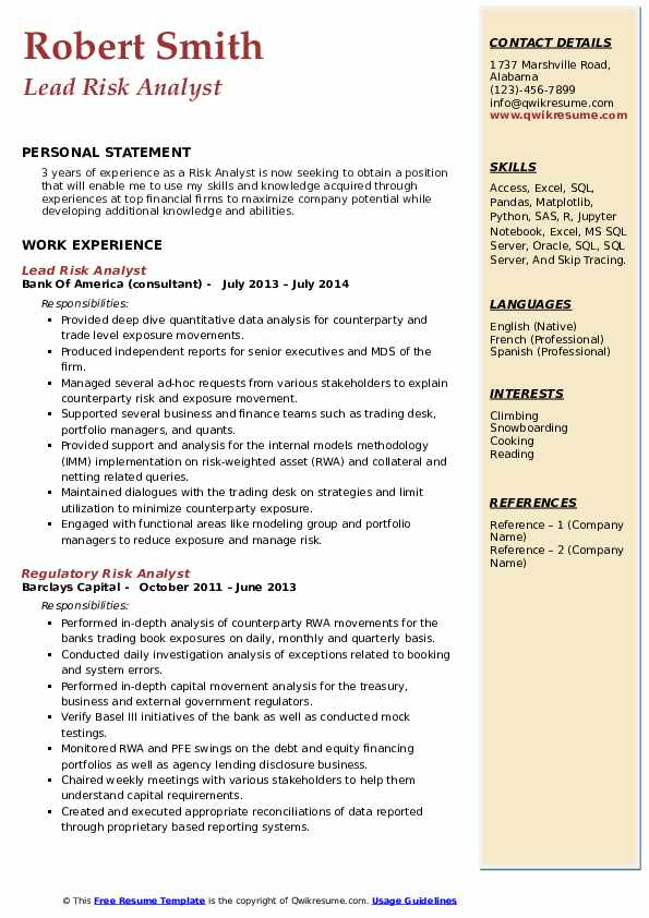 Lead Risk Analyst Resume Template