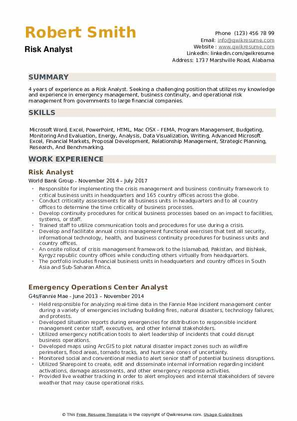risk analyst resume samples