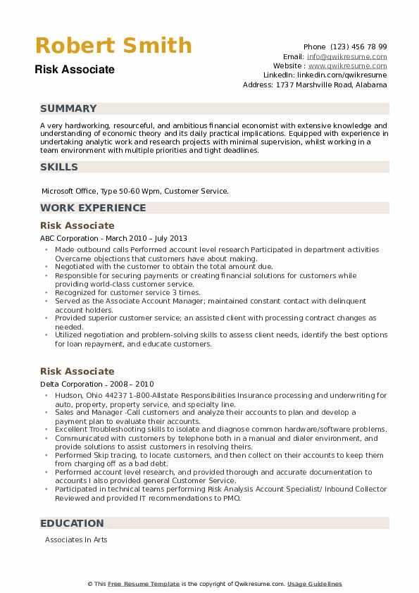 Risk Associate Resume example