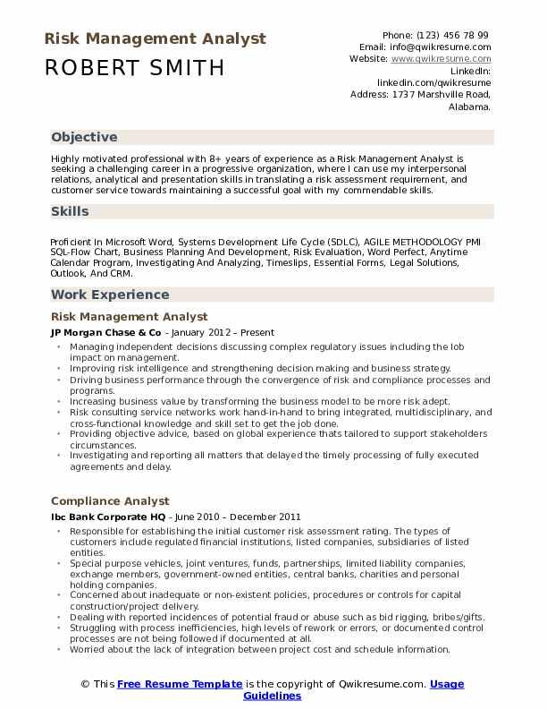 risk management analyst resume samples