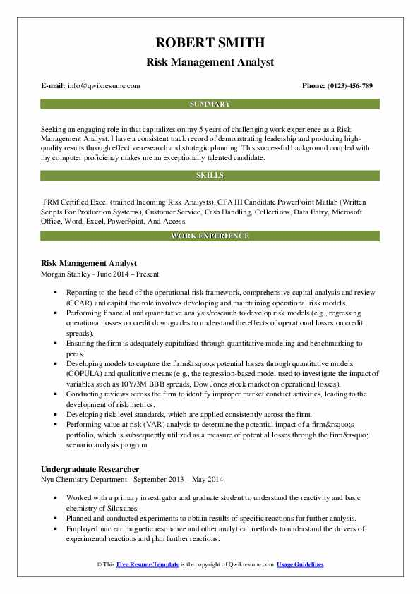 Risk Management Analyst Resume Model