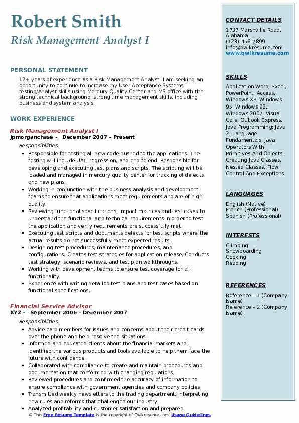 Risk Management Analyst I Resume Template