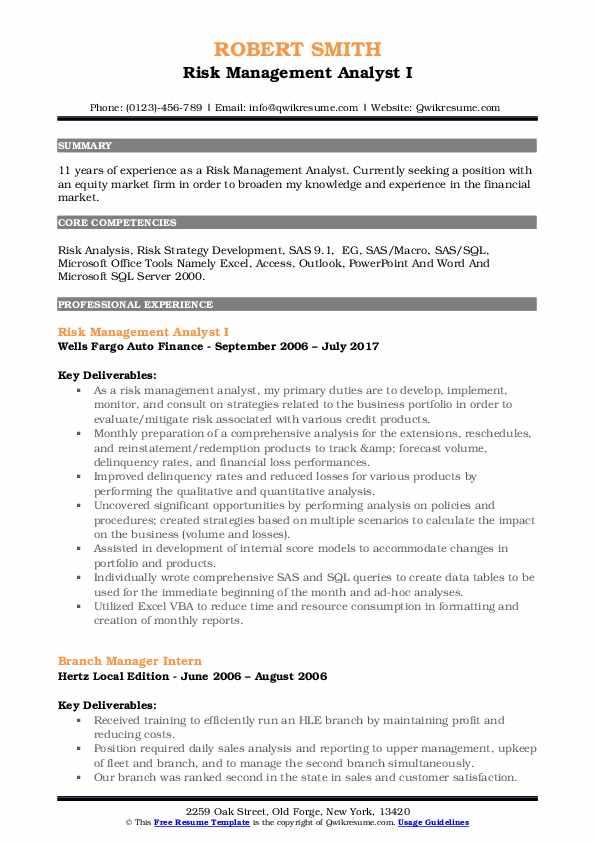 Risk Management Analyst Resume Samples | QwikResume