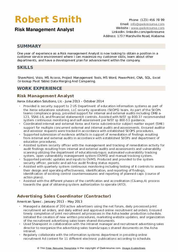 risk management analyst resume samples