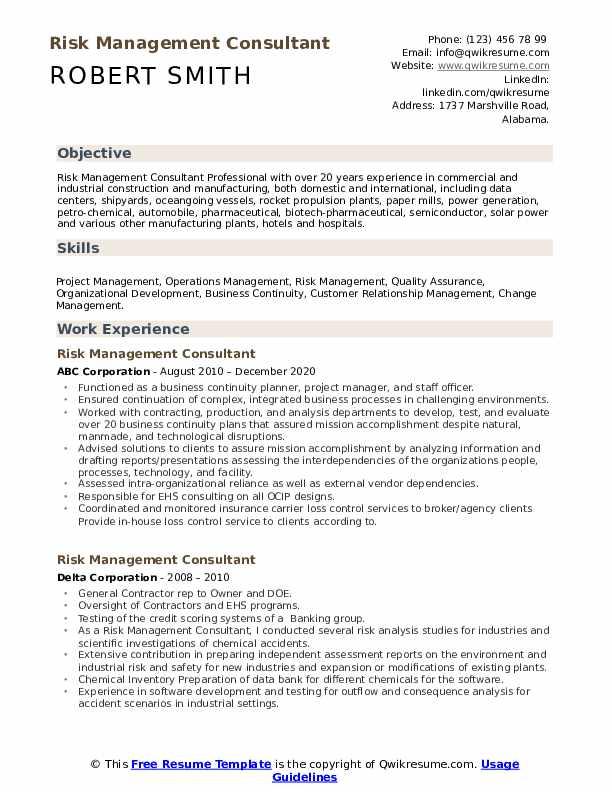 risk management consultant resume samples  qwikresume