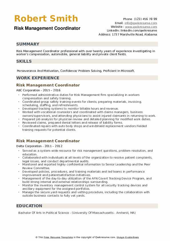 Risk Management Coordinator Resume example