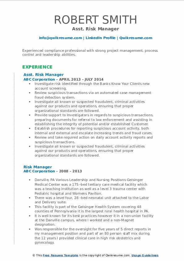 Asst. Risk Manager Resume Format