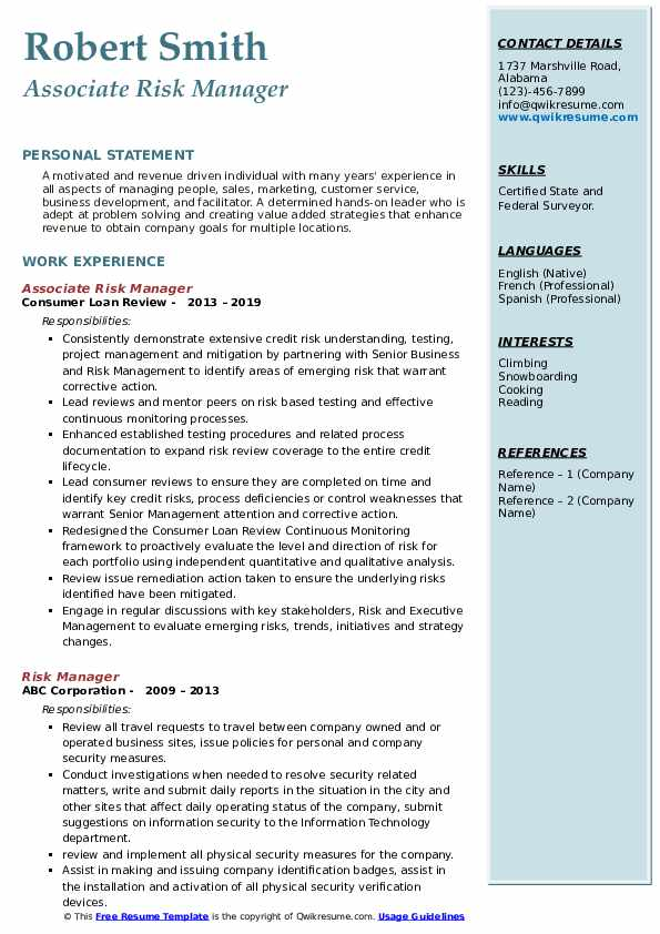 Associate Risk Manager Resume Example