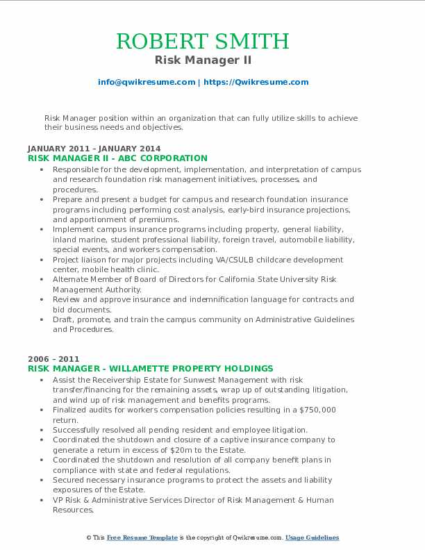 Risk Manager II Resume Template