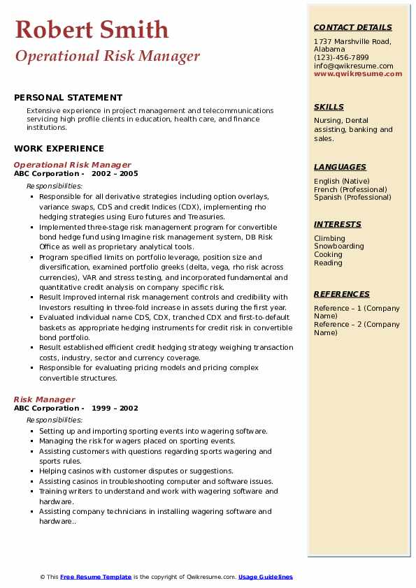 Operational Risk Manager Resume Example