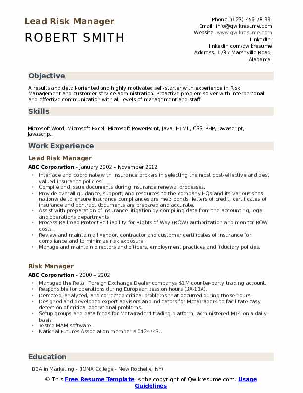 Lead Risk Manager Resume Sample