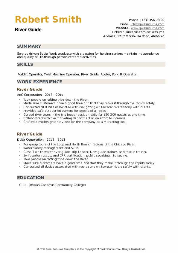 River Guide Resume example