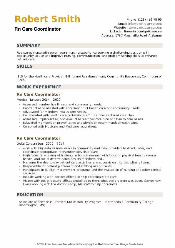 RN Care Coordinator Resume example