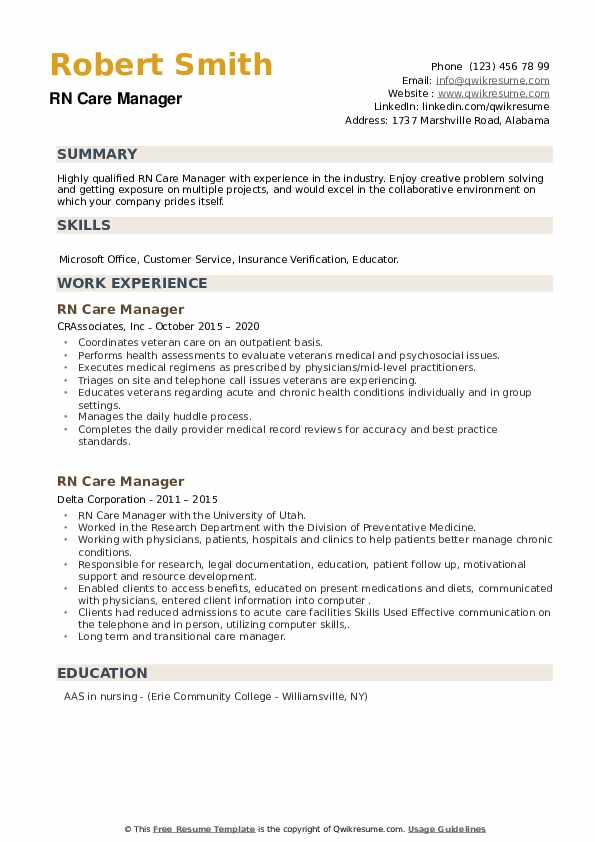 RN Care Manager Resume example