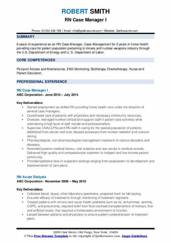 rn case manager resume samples