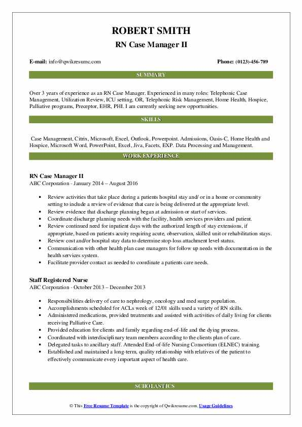 RN Case Manager II Resume Format