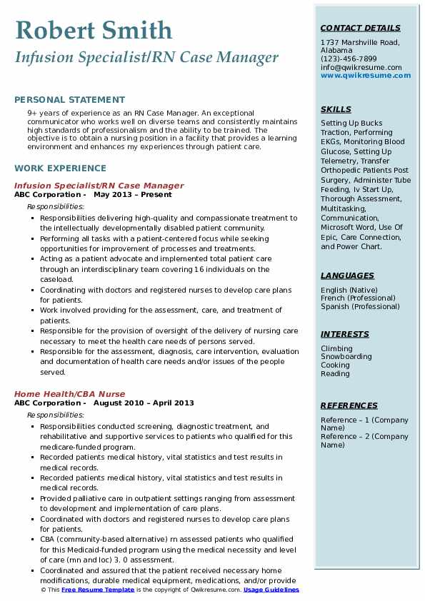 Infusion Specialist/RN Case Manager Resume Model